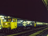 "50026 ""Indomitable"" at Reading with 3M15, the 20:50 Paddington - Birmingham Vans, <br /> on 20th August 1984. Scanned Transparency."