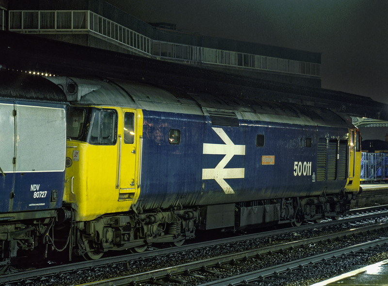 "50011 ""Centurion"" at Reading with the Paddington -  Penzance TPO, on 23rd August 1985. <br /> Scanned Transparency."