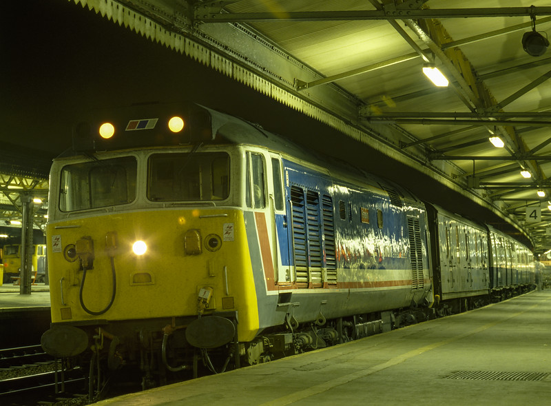 """50029 """"Renown"""" at Reading with the Paddington - Penzance TPO, on 10th September 1987. Scanned Transparency."""