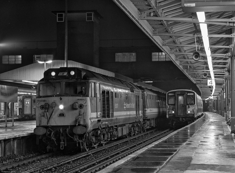 """50017 """"Royal Oak"""" at Woking with 1L29, the 22:15 Waterloo - Salisbury, on 6th January 1990. Scanned Negative."""