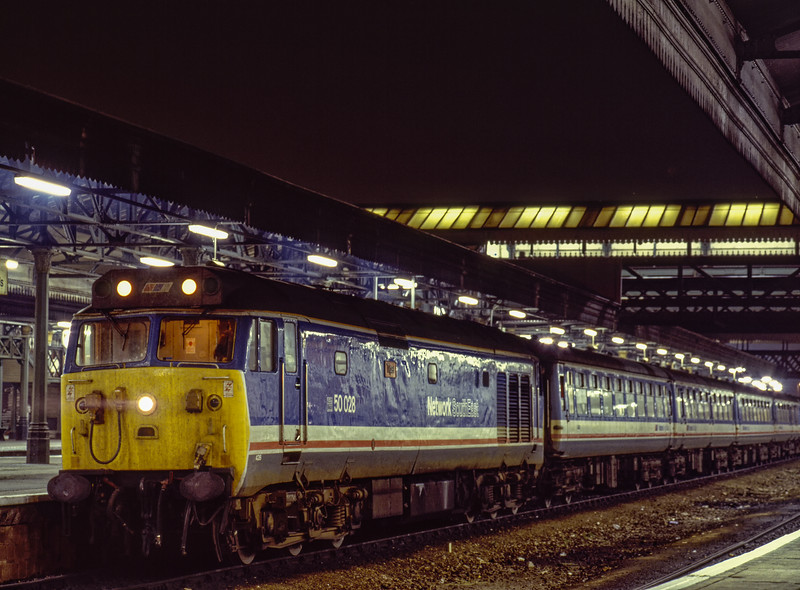 """50028 """"Tiger"""" at Exeter St Davids with 5V19, the 23:00 Exeter St Davids - Laira, <br /> on 30th September 1989. This was the ECS from 1V19, the 19:10 from Waterloo. <br /> Scanned Transparency."""