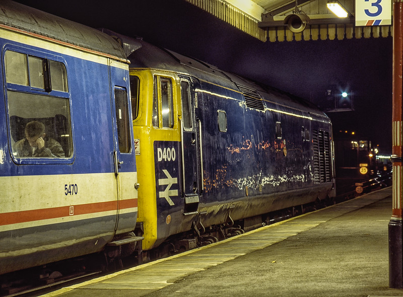 """D400 (50050 """"Fearless"""") at Basingstoke with 1O41, the 17:30 Yeovil Junction - Waterloo, <br /> on 3rd November 1991. Scanned Transparency."""
