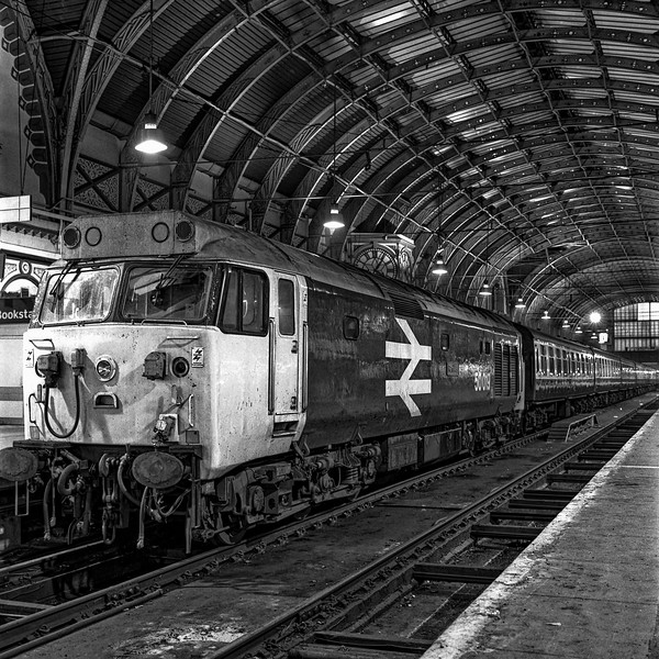 "50019 ""Ramillies"" on the blocks at Paddington, on 1st December 1984. <br /> Scanned Negative."