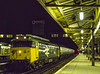 "50010 ""Monarch"" at Woking with 1L09, the 20:10 Waterloo - Salisbury, on 13th March 1982. Scanned Transparency."