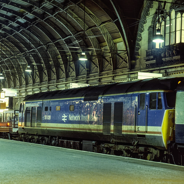 """50028 """"Tiger"""" at Paddington after arriving with 1F43, the 19:12 Oxford - Paddington, <br /> on 2nd January 1988. Scanned Transparency."""