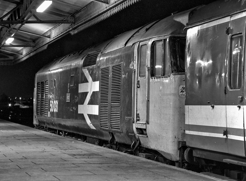 """50331 """"Hood"""" at Reading with the 21:10 Paddington - Oxford, on 9th March 1990. <br /> Scanned Negative."""