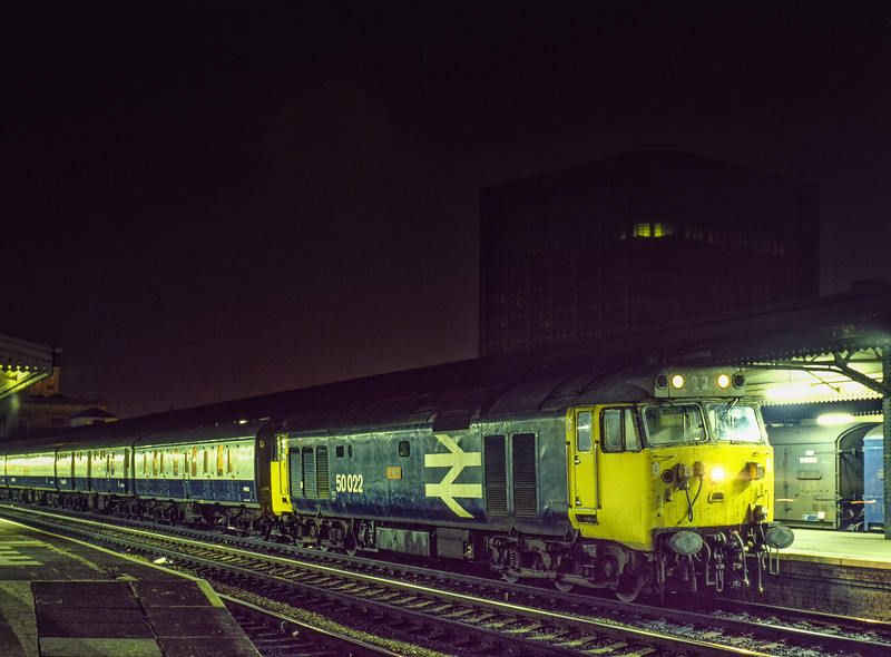 """50022 """"Anson"""" at Reading with the Paddington - Penzance TPO, on 25th August 1983. Scanned Transparency."""