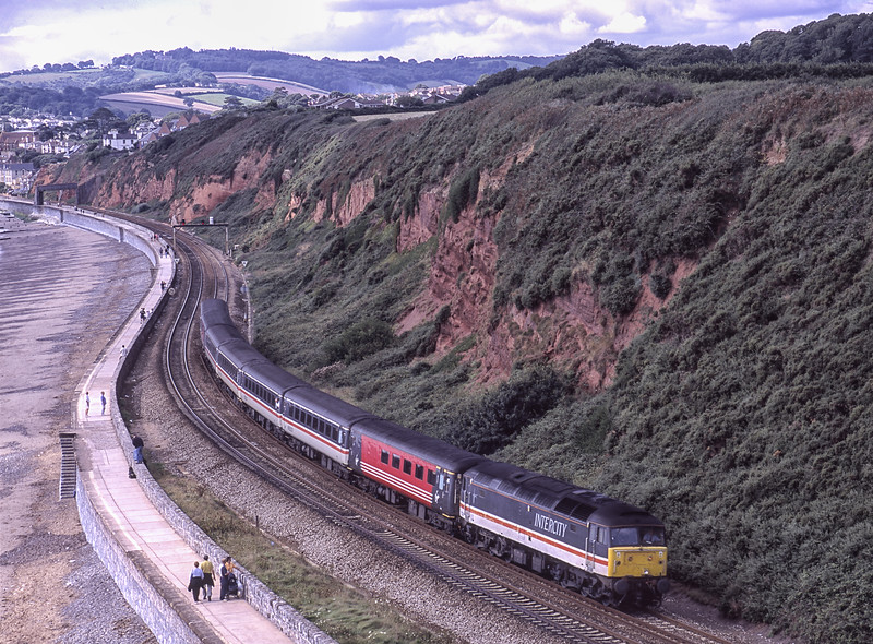 47826 at Dawlish Warren with 1M56, the 08:48 Penzance - Manchester, <br /> on 1st September 2001. Scanned Transparency.
