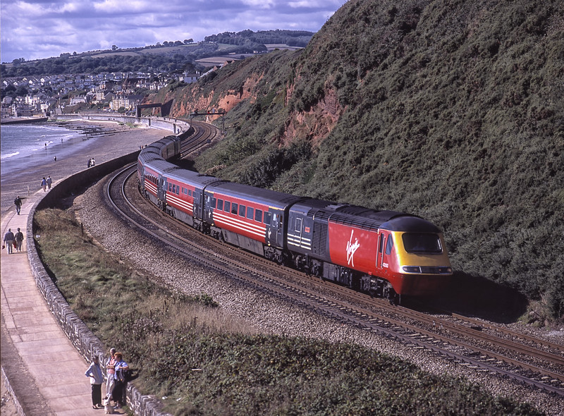 43093 and 43194 viewed from the lower level of Langstone Rock, Dawlish Warren, <br /> with 1S35, the 09:22 Penzance - Edinburgh, on 17th September 2001. Scanned Transparency.