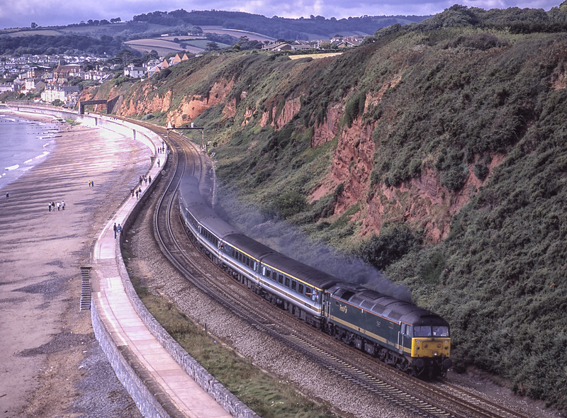 """47832 """"Tamar"""" passes Langstone Rock, Dawlish Warren, with 1A45, <br /> the 08:00 Penzance - Paddington, on 1st September 2001. Scanned Transparency."""