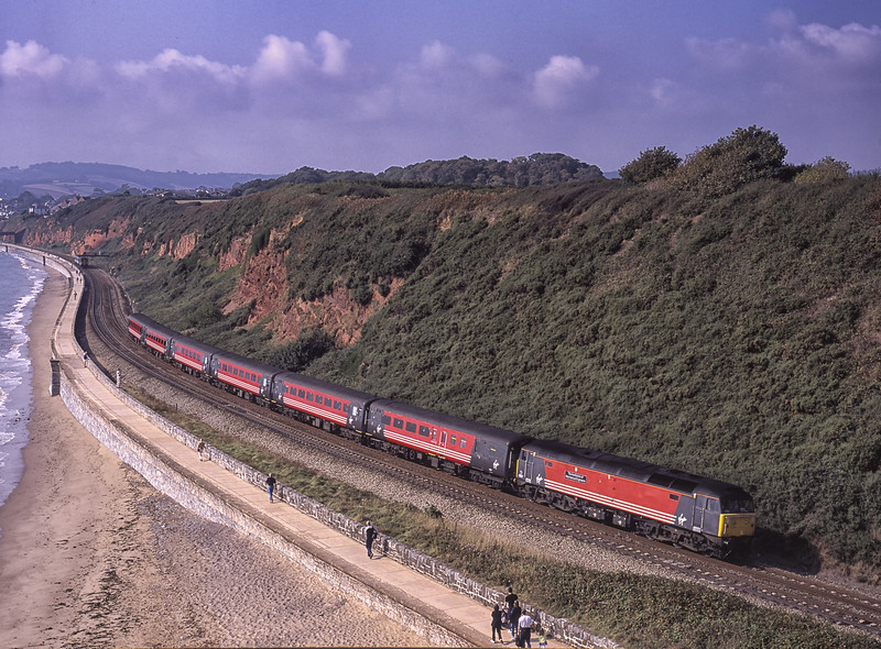 """47817 """"The Institution of Mechanical Engineers"""" viewed from Langstone Rock, <br /> Dawlish Warren, with 1M56, the 08:46 Penzance - Manchester, on 21st September 2001. Scanned Transparency."""