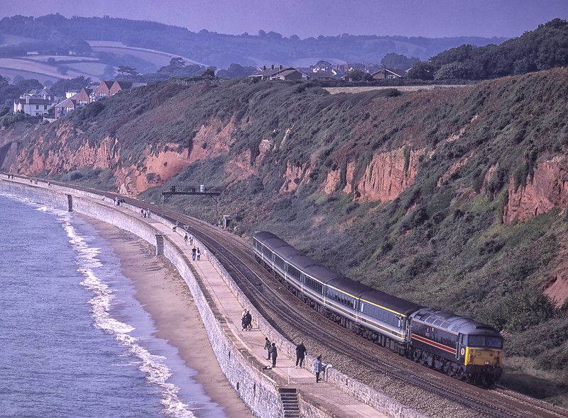 """47709 """"Dionysos"""" heading up the Sea Wall from Dawlish, with 1A45, <br /> the 08:20 Penzance - Paddington, on 21st September 2001. Scanned Transparency."""