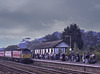 """47814 """"Totnes Castle"""" runs into Dawlish Warren station, with 1E33, <br /> the 10:02 Paignton - Newcastle, on 22nd September 2001. Scanned Transparency."""