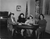 Nashville Women's Club, 1951, working on Berrien County's Centennial Celebration, Hazel Vickrey, chairperson and casting. L-R:  Mrs. Morris, wife of Mayor B. Morris, Tine Whaley, Hazel Vickrey, and Carolyn Peters. (Courtesy of Hazel Vickrey and Billy Cornelius)