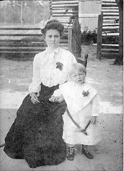 Rachel Irene Ford Bishop Powell and her son John Wesley Bishop. Picture taken 1923 in Nashville Ga. Her father is John S Ford and Mother is Ronda Arian Cook. Photo courtesy of Carol Handley