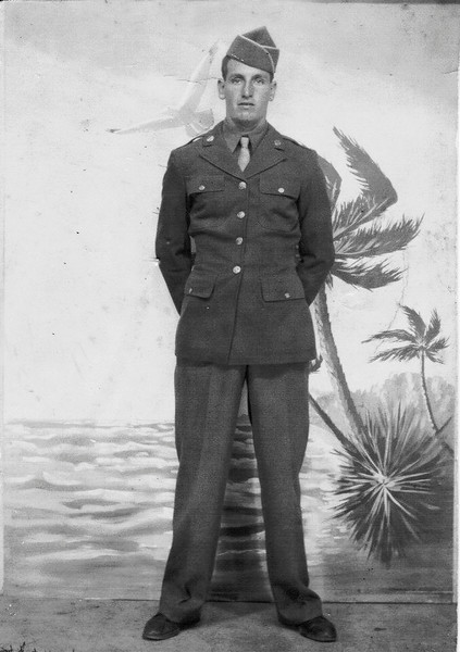Roy Harrell who was stationed in the South Pacific in WWII. He is the son of John A.J. Harrell.<br /> Photo Courtesy of Jack Connell.