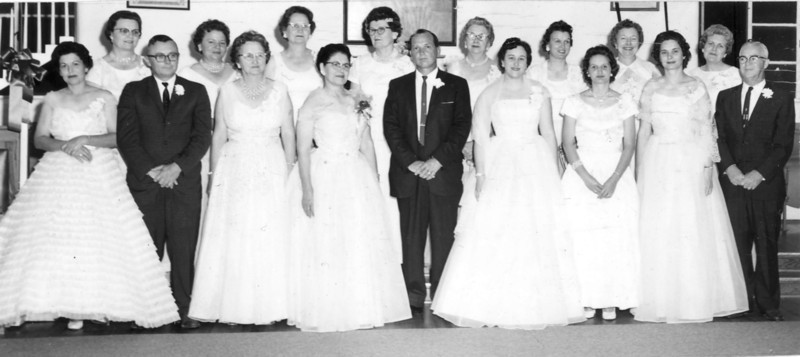 Order of the Eastern Star<br /> Front row, left to right: Robinell Tyson Webb, Johnny Pat Webb, minnie stallings, ann maddox, A.J. Rollins, carolyn outlaw, ------ akins, -------, Perry Alton Harris Sr.  <br /> Back row, left to right: Lois Nicholson, Marjorie Hendley, Jessie Webb, Bernice hamilton, _________, <br /> Estelle Peters, Fanny Giddens, Marjorie Kelly, Lola Mae Menchew.<br /> Photo identification corrections needed.