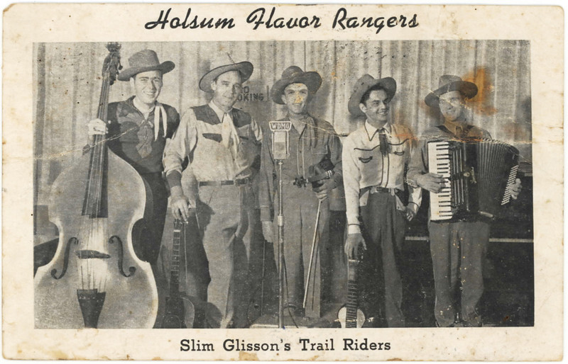 Slim Glisson Trail Riders; Olen Griner center.<br /> A Holsum Flavor Ranger membership card. The back side states: This is to certify that the bearer is a member in good standing in the Holsum Flavor Ranger Club and a local buyer of Holsum Bread and Cakes.