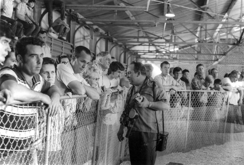 Rattlesnake Roundup in Nashville, Georgia in 1972. Bob Tucker in center with cameras; Jack Willis, left of center, behind fence. Curtis Wetherington just over Bob Tucker's left shoulder (dark hair), Other Identifications needed. Photo by Peggy Tygart.
