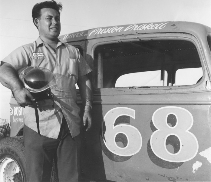 Preston Driskell and Race Car, July 1967<br /> <br /> The Berrien Press, page 4, July 20, 1967<br /> WINNER – Preston Driskell of Ray City was winner of the first heat race at North Valdosta Race Track Saturday night.  In the 30-lap feature race, Driskell had tire and overheating problems but made sixth place after protests knocked out two of the cars in the top three.