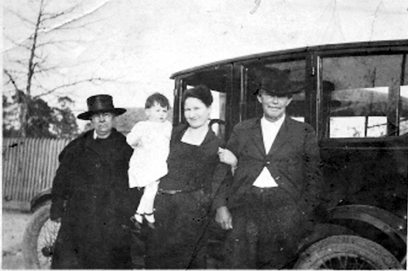 Pictured on the right is John Brown, Jr., born November 6, 1862 and died April 2, 1923. He is buried at Pine Grove Cemetery. He was the son of John Brown (1834) and Jane Paulk (1835). Jane's parents were Micajah Paulk and Mary McMillan. John Brown, Jr. was married to Sarulie Barceney Yawn, (1885) of Berrien County. Courtesy of Leslie Oreal Arnold.
