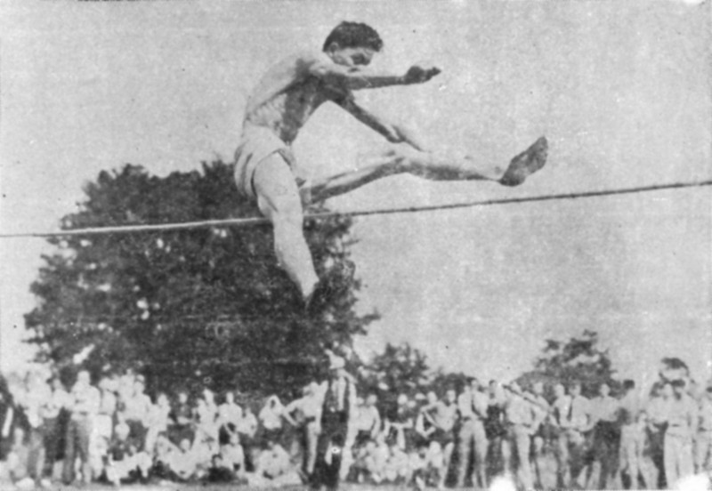 The Nashville Herald, front page, April 28, 1938<br /> LOCAL BOY HIGH SCORER IN DISTRICT MEET<br /> The above is a picture of James (Coon) Connell, star performer of the Nashville high track team, snapped in action as he cleared the bar to win first place in the high jump in the district meet at Waycross last Friday.  He cleared the bar at 5 feet and 7 inches.  Young Connell was high individual scorer of the meet, also winning the low hurdles and ran one leg of the relay race which was won by the Nashville team. - Photo courtesy of Waycross Journal-Herald.<br /> <br /> (from newspaper proof. Original photo needed.)