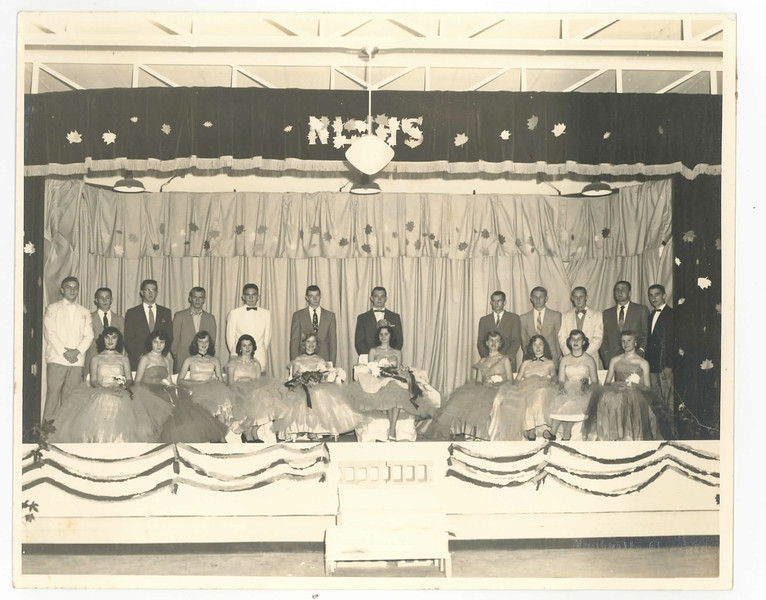 """Nashville High School King and Queen Court<br /> Front row, left to right: Anelda Baker, Nancy Nix, JoAnn Register, Sally Jo Connell, Patricia Carter, Sue Nix, Elaine Carter, Imogene Holland, Lulabell McEuen, Louise Shouse.<br /> Back row, left to right: Emory Register, Max Gaskins, Wendell """"Sonny"""" Nix, Garland McMillan, Jack Patten, James Davis, Dewitt Osborne, Kenneth King, Junior Futch, Jerry Shaw, Wendell Garner, James Whiddon. (Photo and identifications courtesy of Frances Gray Plair)"""