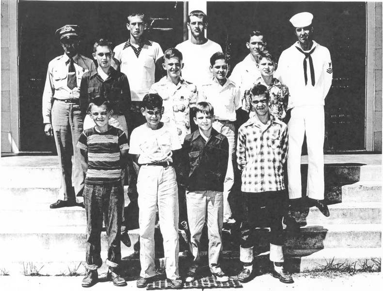 "Front row, left to right: Johnny Pat Webb, Wayne Hinson, Jay Lloyd Scott, Wayne Harris<br /> 2nd row, left to right: Russell Tittle, Lamar Gray, Kenny Drew Fuller, Dawson Mathis<br /> 3rd row, left to right: Policeman Lucious Browning, Guy Tittle, Robert ""Bobby"" Griffin, Tommy Boyett, and _______  _______.  Photo and identification courtesy of Frances Gray Plair"