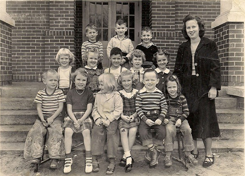 Kindergarten Class of 1949-50, believed to be the first kindergarten in Berrien County.<br /> Photo courtesy of Ron Mathis. Identifications needed.