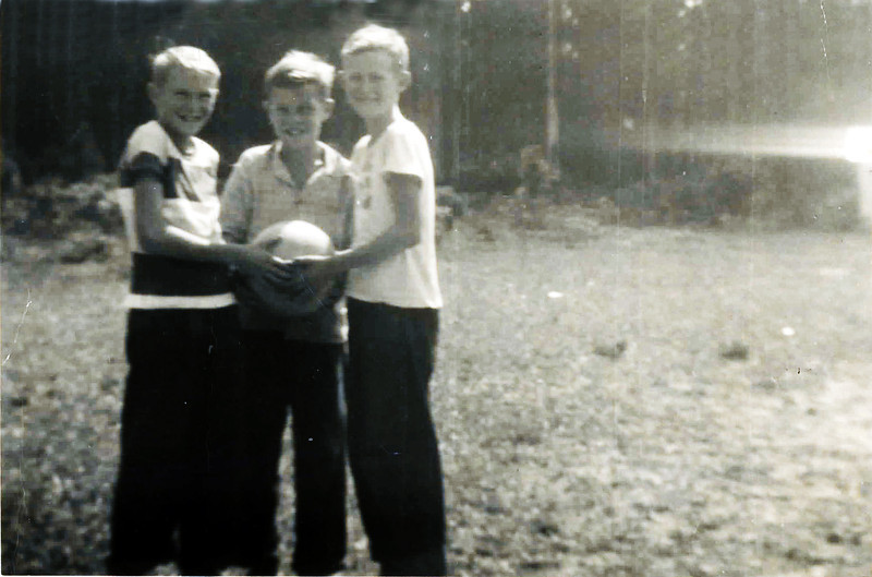 Gaskins School Basketball Court<br /> Left to right Huey Lee Gaskins, James Gaskins, Johnny T. Cooper.<br /> Photo courtesy of Johnny Cooper