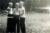 Gaskins School Basketball Court<br /> Left to right Huey Lee Gaskins, James Gaskins, Johnny T. Cooper.<br /> Photo courtesy of Johnny Cooper