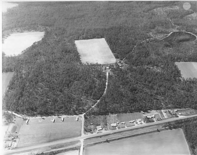 Aerial View of Harrellville and Dr. Frank Carter's Farm, 1970