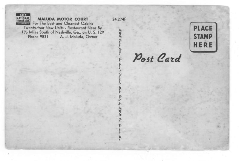 Back side of Maluda Court Postcard.<br /> Courtesy of Leuna Kent