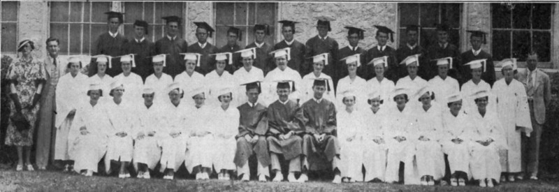 Unidentified graduation class, from newspaper proof. Original photo, and year and individual identifications needed.