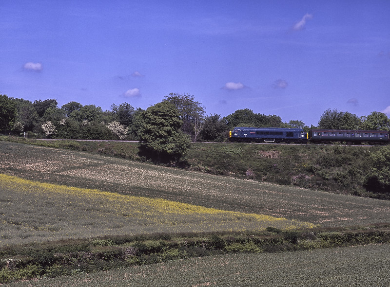 """45060 """"Sherwood Forester"""" at Grosvenor Road Bridge, with the 11:36 Alton - Alresford, <br /> on 23rd May 2004. Scanned Transparency."""