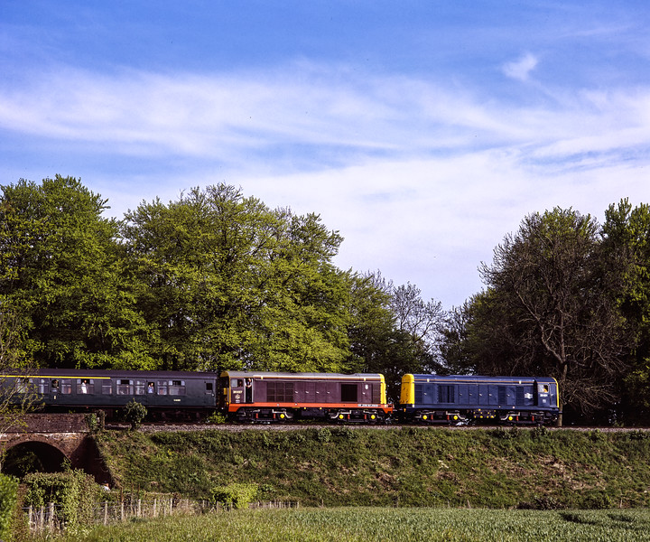 """20001 and 20227 """"Sir John Betjeman""""  at Rookwood Lane with the 15:55 Alton - Alresford, <br /> on 15th May 2005. Scanned Transparency."""