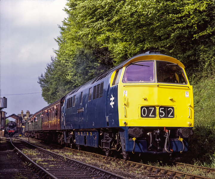 """D1013 """"Western Ranger"""" departs from Ropley with the 09:15 Alresford - Alton, <br /> on 13th May 2005. Scanned Transparency."""