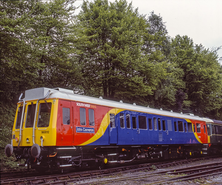 """Ex class 121 960012 """"John Cameron"""" at Ropley,  on 14th May 2005. Scanned Transparency. 960012 was being used at the time by SWT for route learning."""