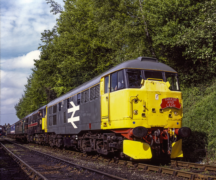"""31108 and 31128 """"Charybdis"""" depart from Ropley with the 09:45 Alresford - Alton, <br /> on 13th May 2005. Scanned Transparency."""