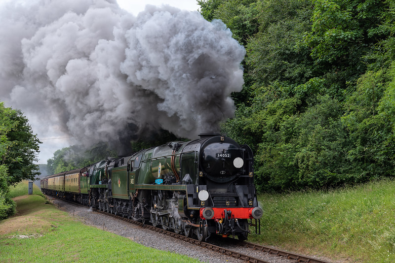 """34052 """"Lord Dowding"""" and 34053 """"Sir Keith ParK"""" at College Crossing <br /> with the 09:45 Alresford - Alton, on 1st July 2017."""