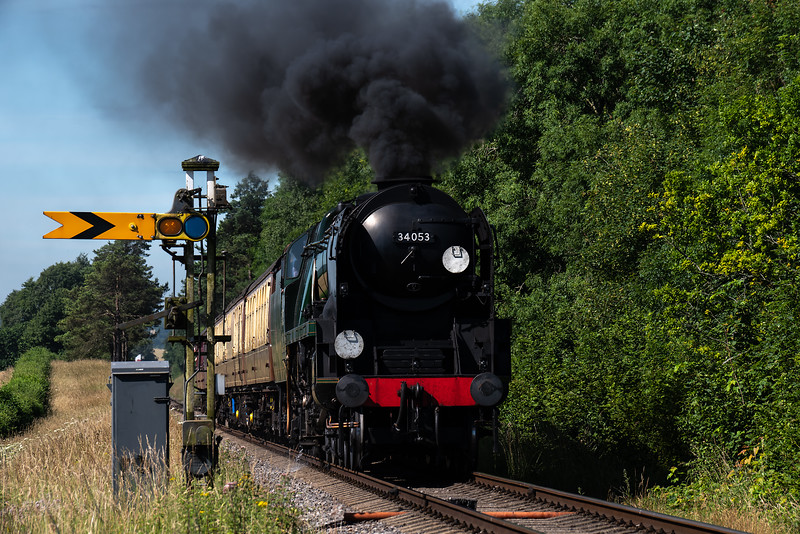 """34053 """"Sir Keith Park"""" passes the Ropley Down Distant signal <br /> with the 09:45 Alresford - Alton, on 7th July 2017."""