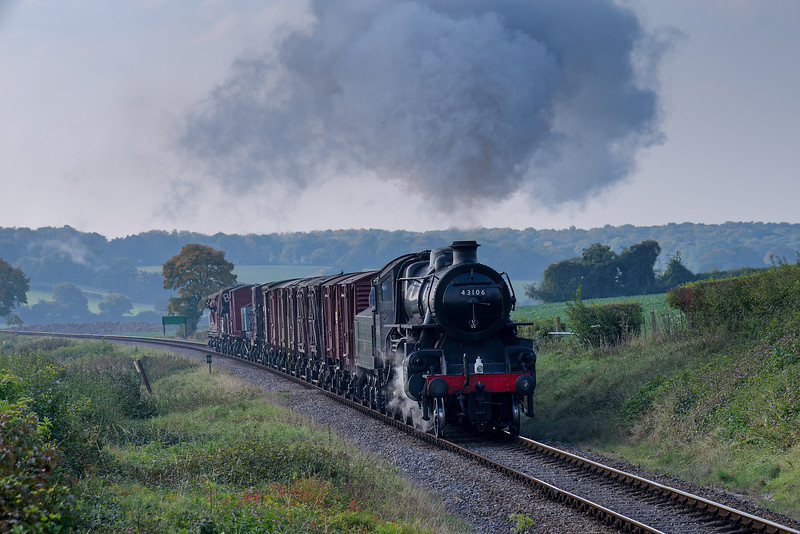 Ivatt class 4 No. 43106 at Wanders Crossing with the 11:58 Alresford Sidings - Alton Freight, <br /> on 23rd October 2016.