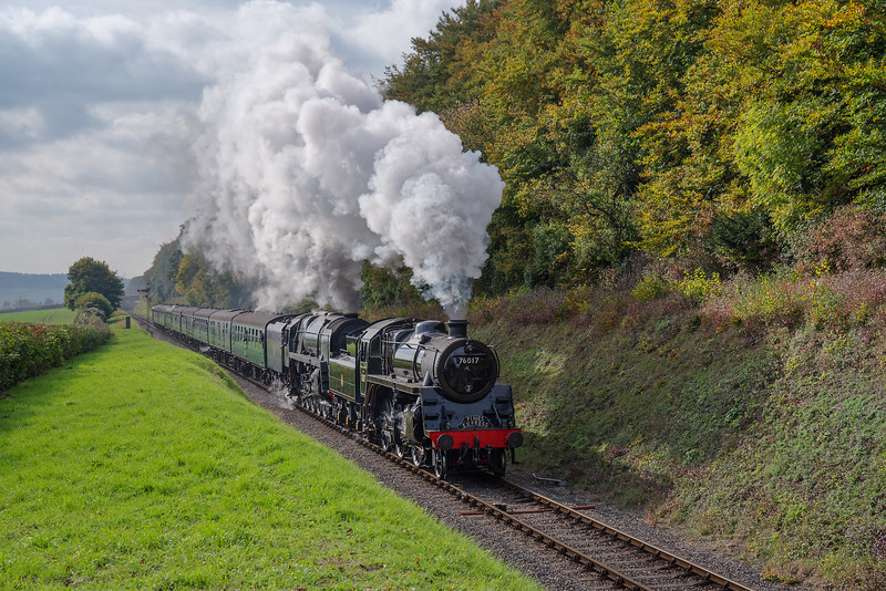 Standard 4 No. 76017 and 9F No. 92212 at Milepost 56 with the 13:40 Alresford - Alton, <br /> on 21st October 2016.
