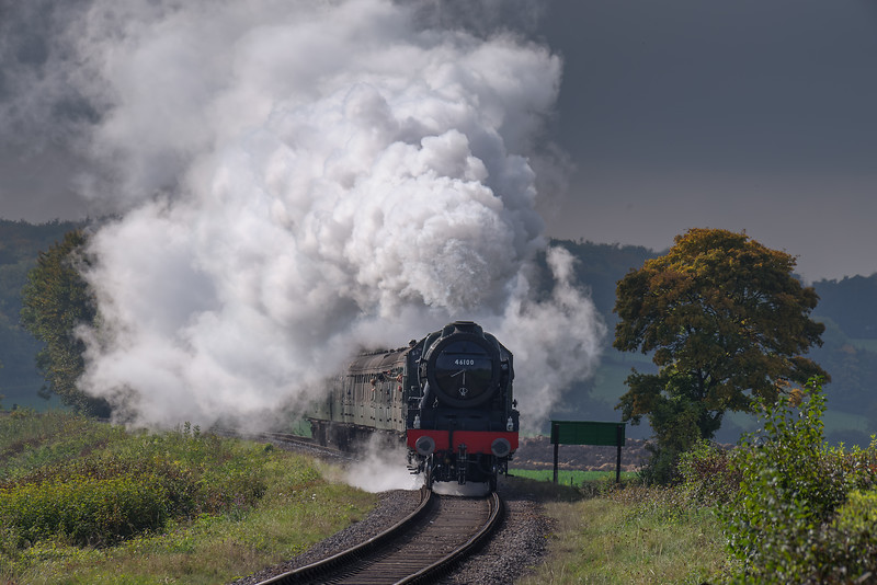 """LMS No. 46100 """"Royal Scot"""" on Wanders Curve with the 13:00 Alresford - Alton, <br /> on 22nd October 2016."""