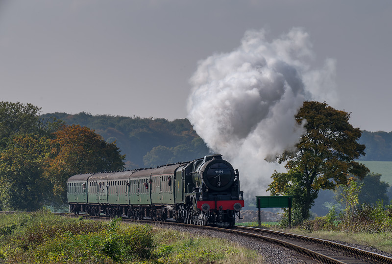 """LMS No. 46100 """"Royal Scot"""" on Wanders Curve with the 13:00 Alresford - Alton, <br /> on 23rd October 2016."""