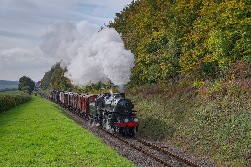 Ivatt class 4 No. 43106 passes the Ropley Down Outer Home signal <br /> with the 11:58 Alresford Sidings - Alton Freight, on 21st October 2016.