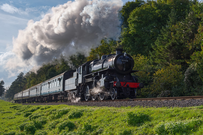 Ivatt class 4 No. 43106 approaches Stable Lane Bridge  with the 14:10 Alresford - Alton, <br /> on 22nd October 2016.