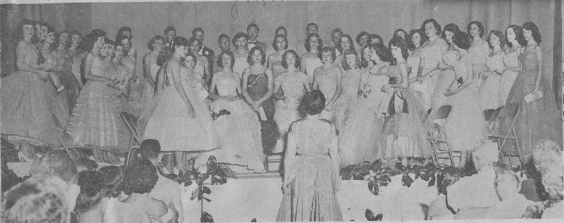 The Nashville Herald, front page, May 19, 1955<br /> <br /> Photo caption:<br /> BERRIEN HIGH GLEE CLUB RECITAL – Mrs. Frank Kneece (in foreground) presented the Berrien High Glee Club in its Spring recital last Friday night in the school assembly room.  The program consisted of classical, semi-classical, religious and popular songs.  The piano accompanist was Mrs. Mary Ernest Houston.  Bayne Garrett rendered a saxophone solo and Mrs. Ruby Turner a vocal solo. – Photo by Wink Rogers.