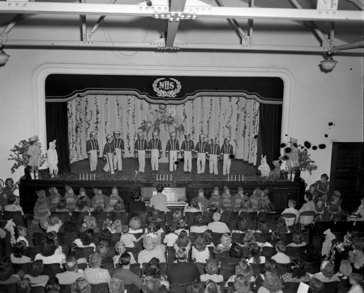 """Nashville High School Auditorium in Stucco Building, April (probably 1948), Jamie Connell Notation, states """"Operetta"""" April (year illegible)"""