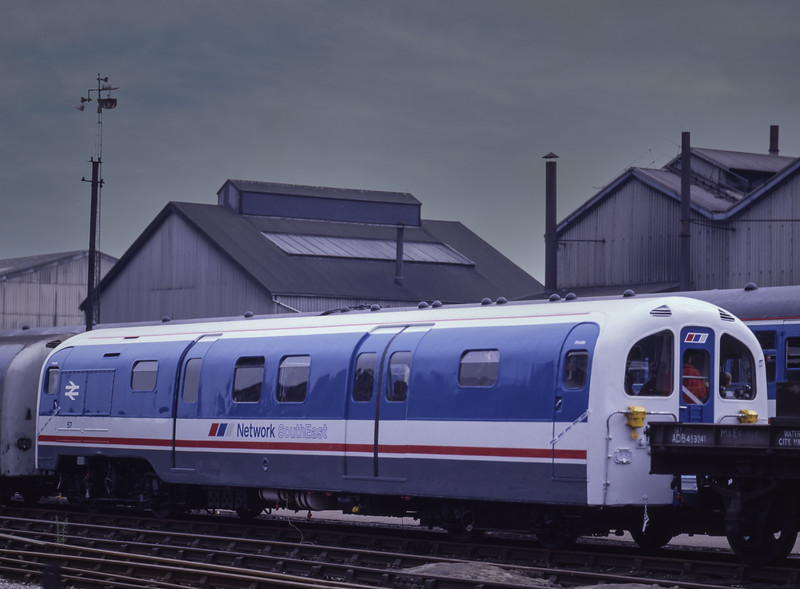 Waterloo & City Car No. 57, on display at BREL Eastleigh, during the Open Day <br /> on 12th October 1986. Scanned Transparency.
